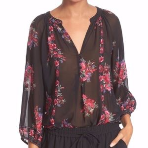 Joie Black Silk Floral Long Sleeve Blouse Top